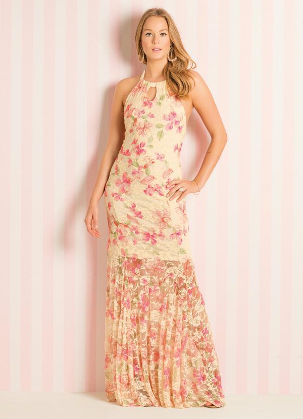 fa32cb0d7 Quintess - Vestido Longo Frente Única Floral - Quintess