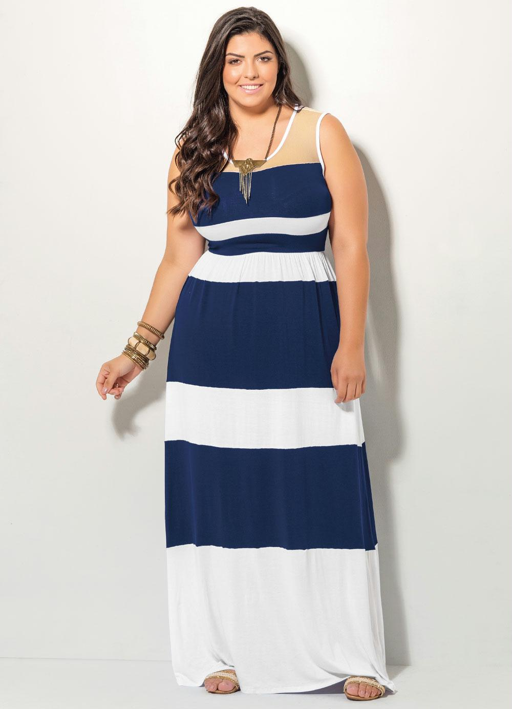 54b877270 Vestido Longo Listrado Azul e Branco - Quintess