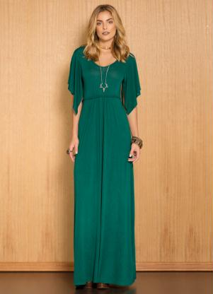 Vestido Longo Mangas Soltinhas Verde