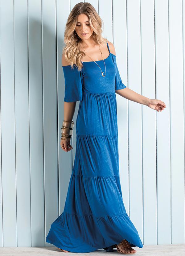 Vestido Longo Ombros de Fora Azul - Quintess b49f9b861435