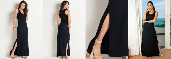 Vestido longo preto com estampa