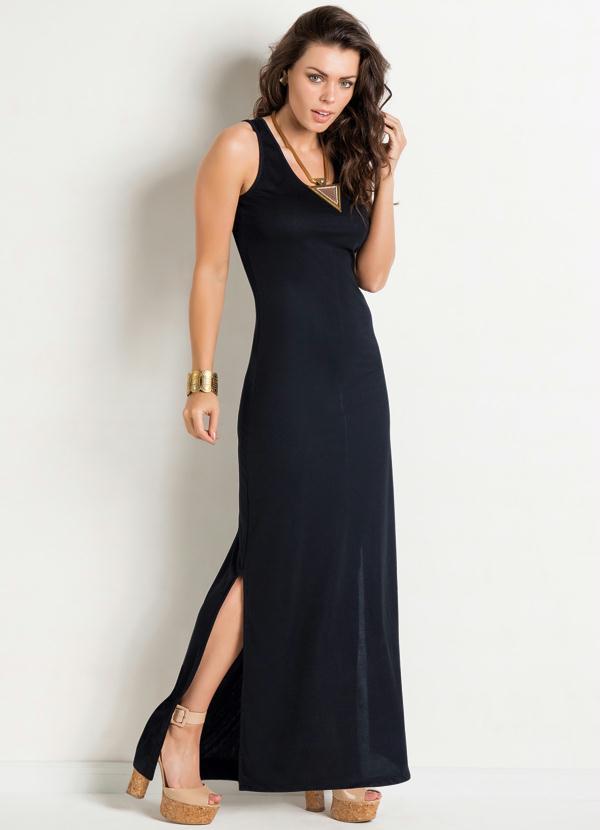 Vestido longo basico fenda