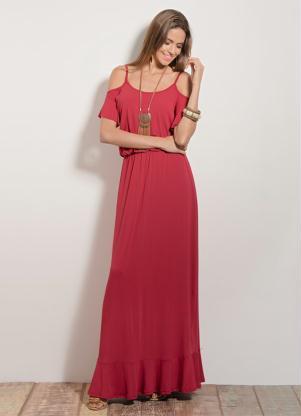 Vestido Longo Quintess Vermelho Com Alças