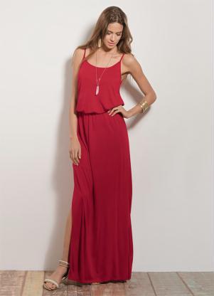 Vestido Longo Quintess Vermelho Com Fenda