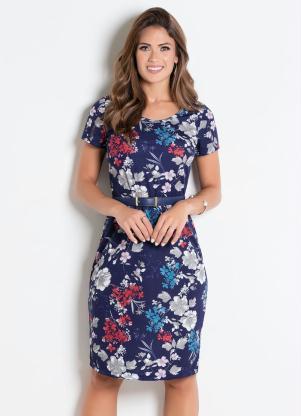 cf3088eed produto Rosalie - Vestido Decote Redondo Flores Moda Evangélica