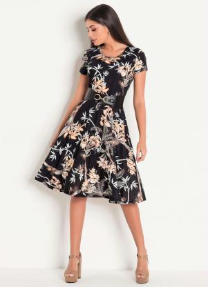 8d37f58f982f produto Rosalie - Vestido Decote Redondo Moda Evangélica Estampado