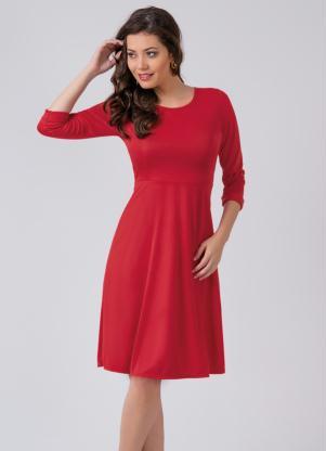 Vestido Acinturado Vermelho Moda Evangélica