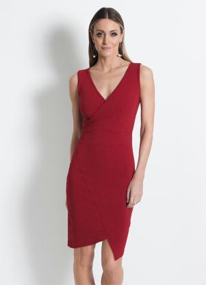 Vestido Assimétrico Transpassado Mink Vermelho
