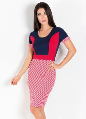 Vestido Azul E Vermelho Com Recortes E Listras