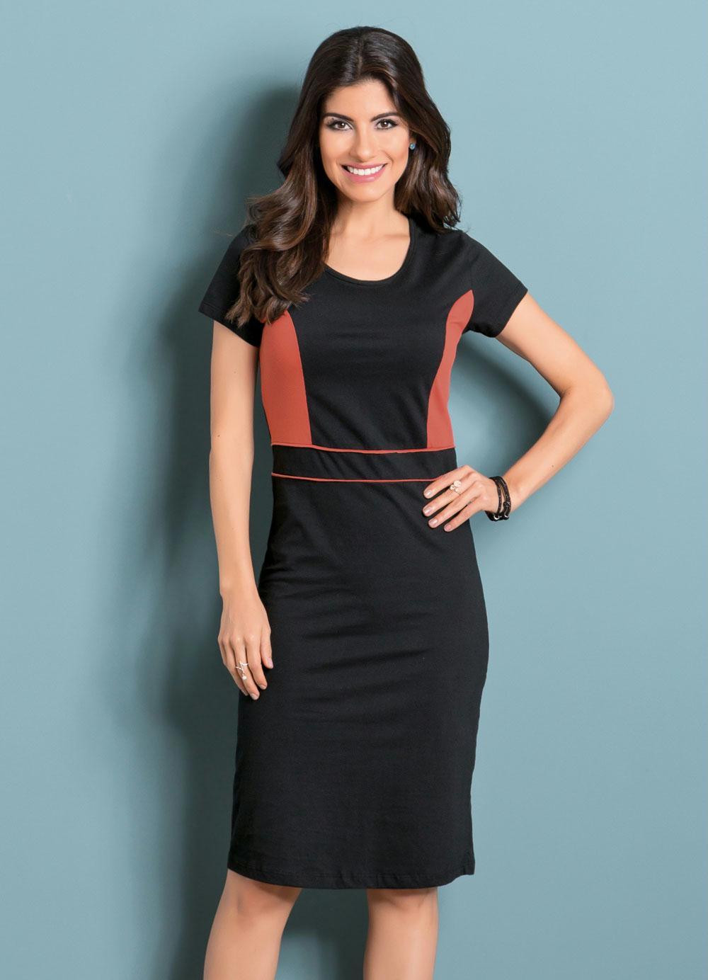 320564a512 Vestido com Recortes Moda Evangélica Preto - Queima de Estoque