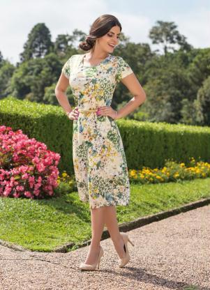 Vestido Com Gola Redonda Floral E Verde