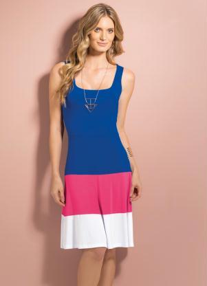 Vestido Evasê Azul, Rosa E Branco