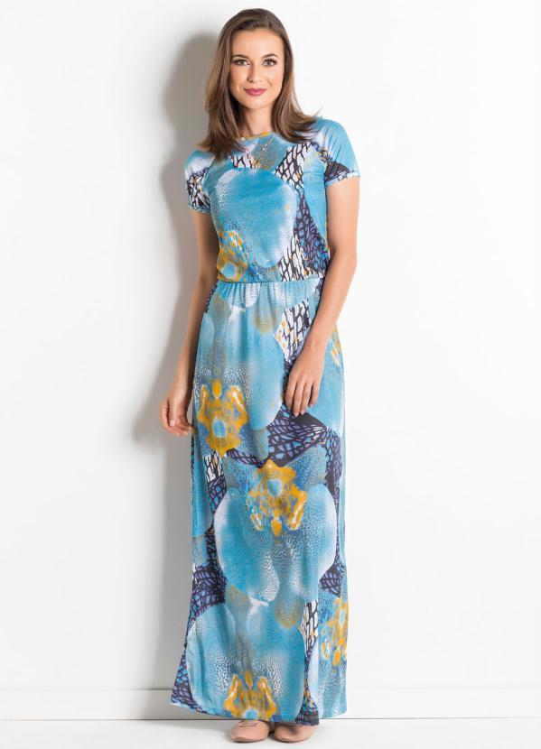 Vestido longo casual com fenda lateral
