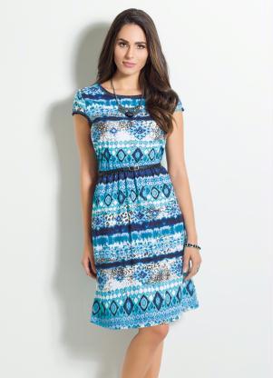 Vestido Manga Curta Com Estampa étnica Azul