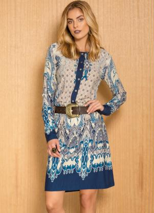 Vestido Manga Longa Cashmere Azul
