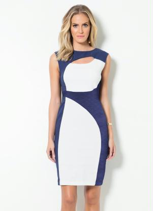 Vestido Tubinho Mink Bicolor Azul E Off White