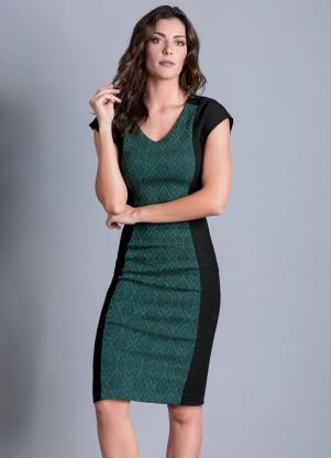 Vestido Tubinho Preto E Verde