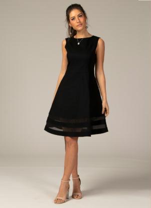 2b6864df9368 produto Quintess - Vestido Evasê com Transparência Preto Plus Size