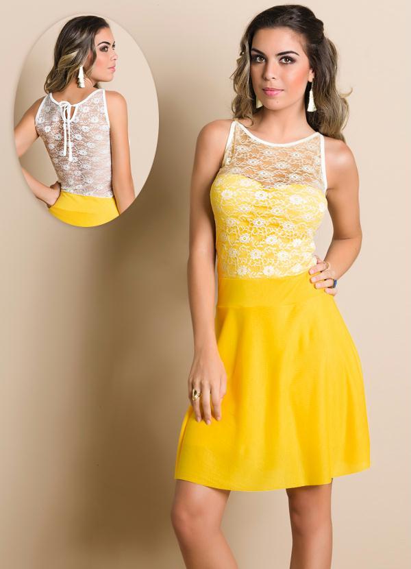 Vestido amarelo detalhe renda branca queima de estoque vestido amarelo detalhe renda branca thecheapjerseys Choice Image