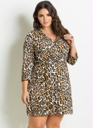 Vestido Animal Print Onça Plus Size