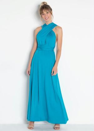 Vestido Longo Costas Transpassadas Azul