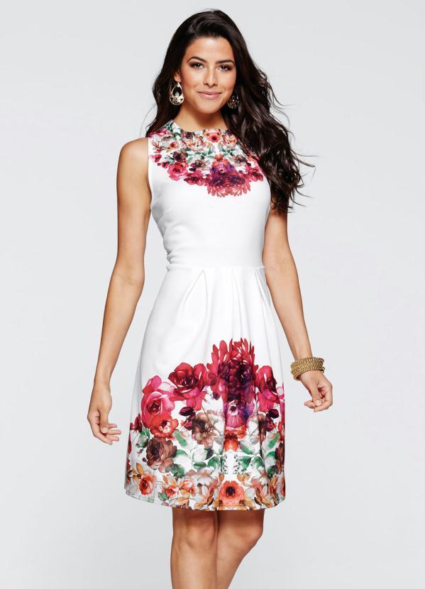 Bonprix Vestido Evasê Estampado Floral Branco