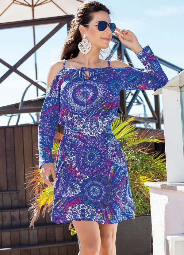 Vestido Ciganinha Estampa Mandala Moda Pop