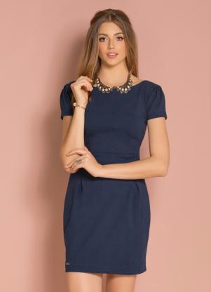 Vestido Curto Azul Marinho Com Detalhe De Pregas