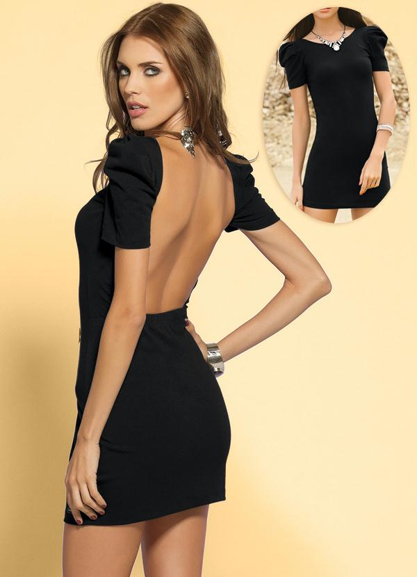 c03c660579 Quintess - Vestido Curto com Decote nas Costas Preto - Quintess