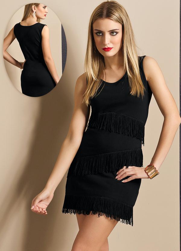 Vestido de franja preto