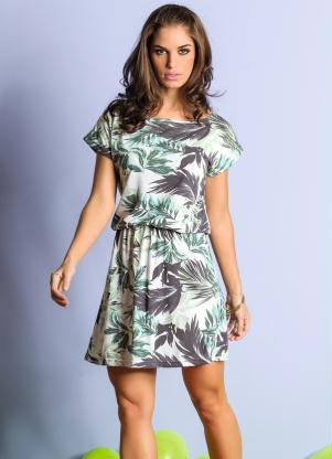 Vestido Curto Estampa Tropical