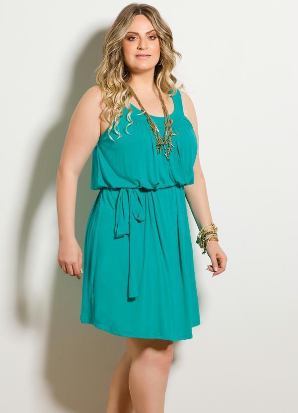 Vestido curto azul turquesa