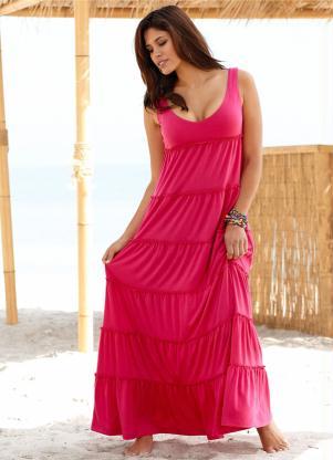 Vestido Longo Sem Manga Rosa