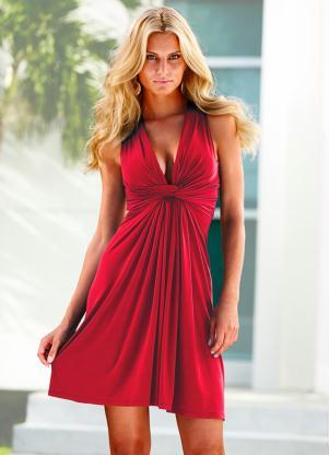 Vestido Sem Manga Amarração Frontal Vermelho