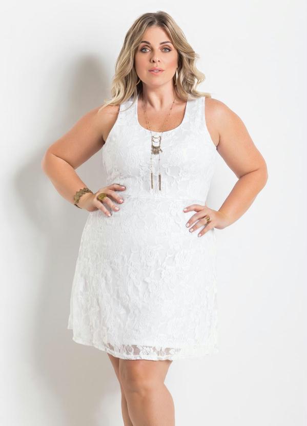 Vestido de Renda Branco Plus Size - Marguerite