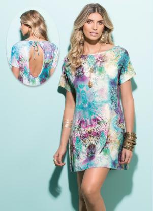 Vestido Decote Nas Costas Mix Animal Print