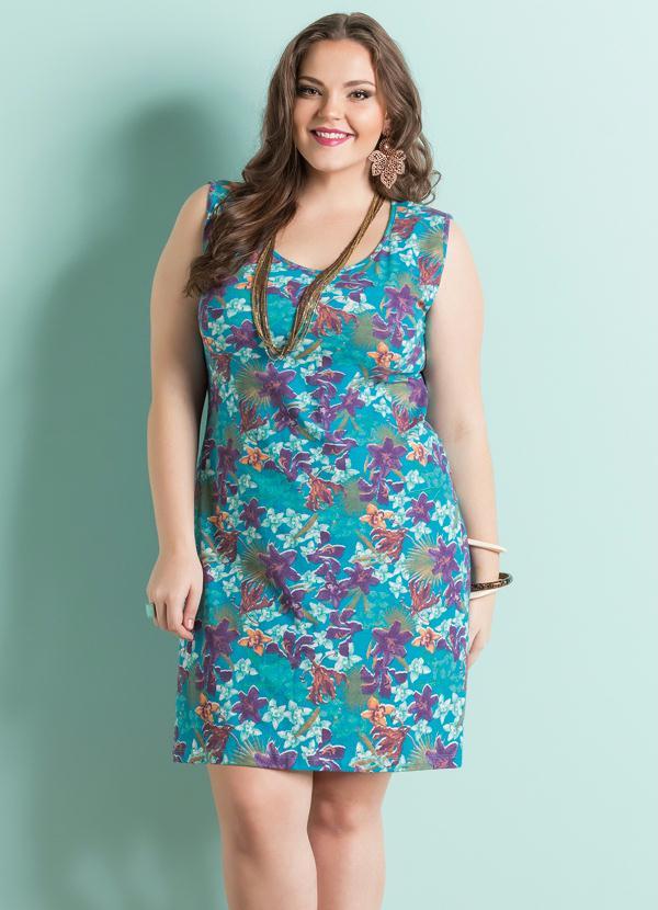 82e58898c107 Vestido Decote Redondo Floral Plus Size - Marguerite