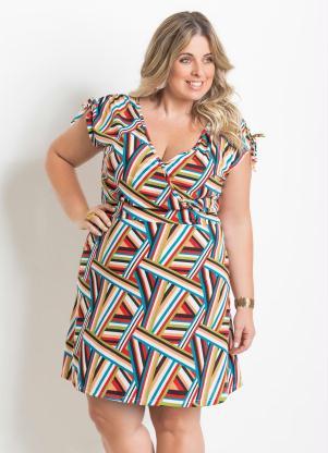 Vestido Decote V Listras Geométricas Plus Size