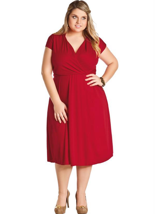 Vestido Decote V (Vermelho) Plus Size