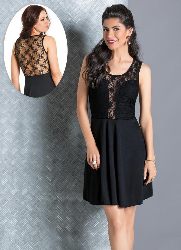 b8d380b06df3 Moda pop - Vestido Detalhe com Renda Preta - Moda Pop