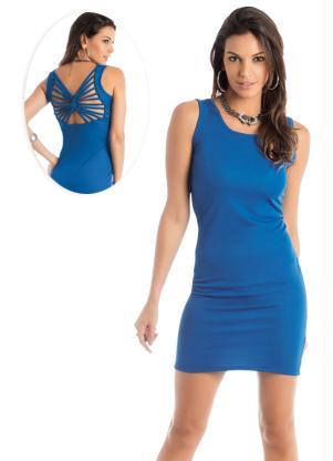 Vestido Detalhe Trançado Nas Costas Azul