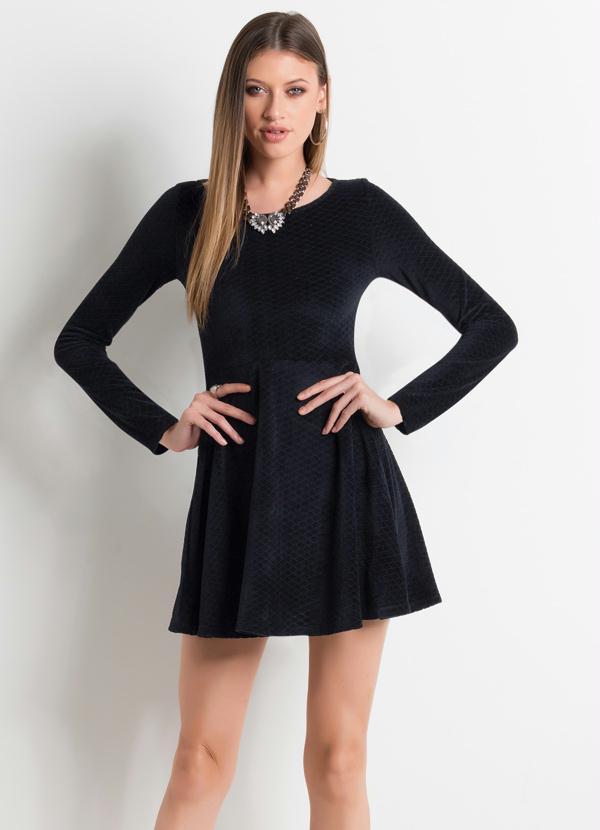 Vestido social preto manga longa