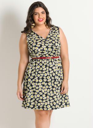 Vestido Estampa Floral Detalhe Vazado Plus Size