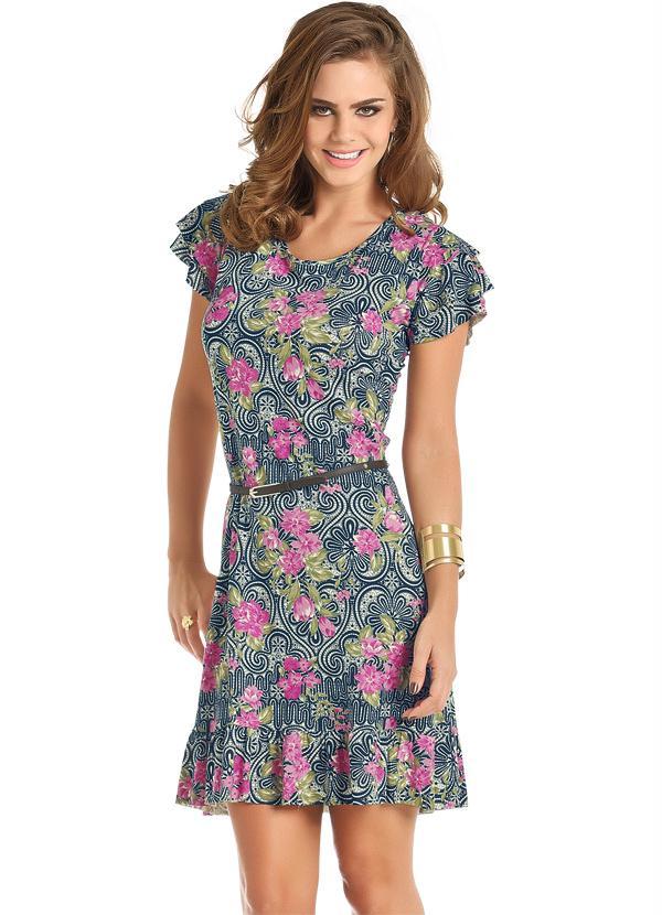 Moda Pop Vestido Estampado Com Flores E Babado Na Barra