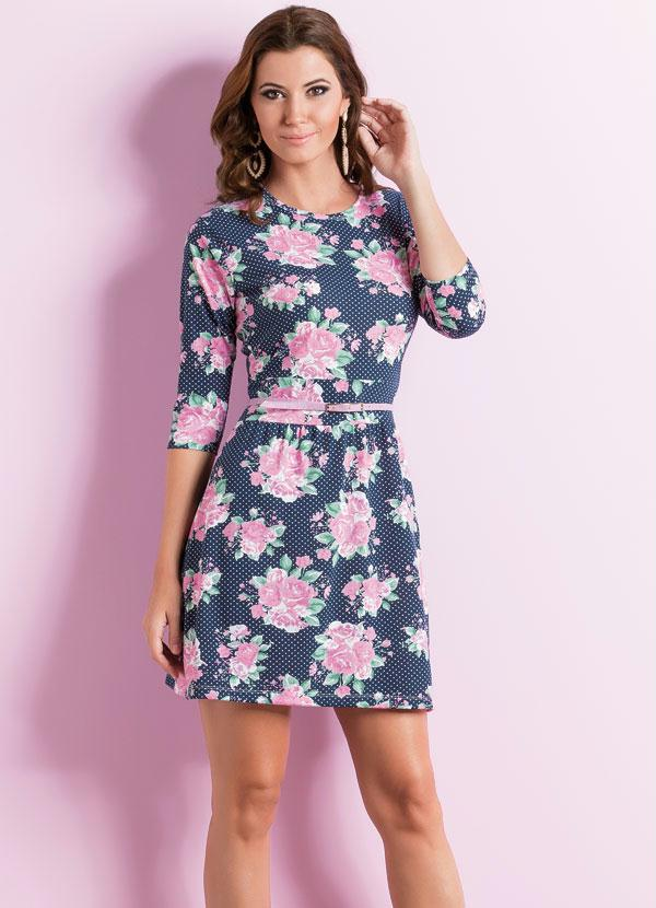 65297eea07 Vestido Evasê com Mangas 3 4 Floral - Queima de Estoque