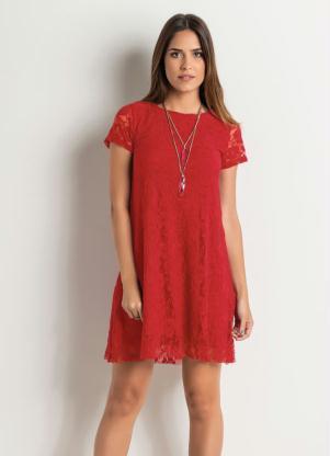 Vestido Evasê Em Renda Vermelho