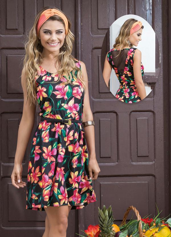 96a4b968b Queima estoque - Vestido Evasê Recorte em Tule nas Costas Floral ...