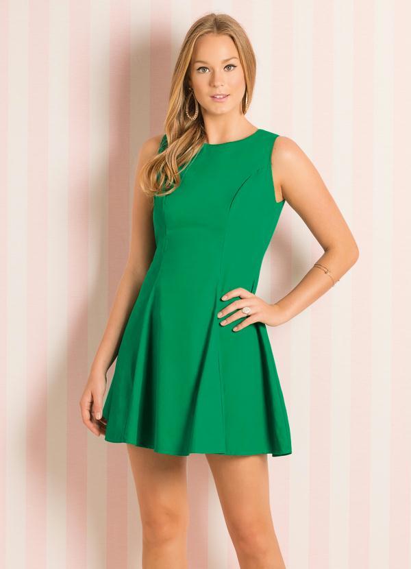 super popular 6c7b6 0444b Quintess - Vestido Evasê Verde