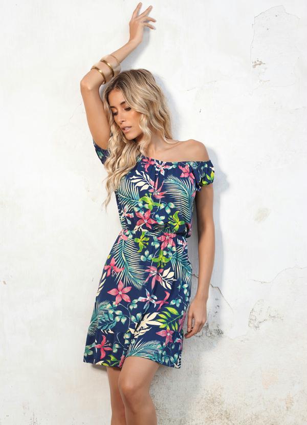 3603abebb Quintess - Vestido Floral com Babado - Quintess