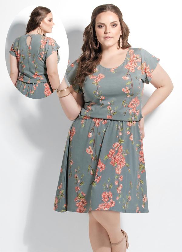 798b214cda7078 Quintess - Vestido Floral Evasê Plus Size